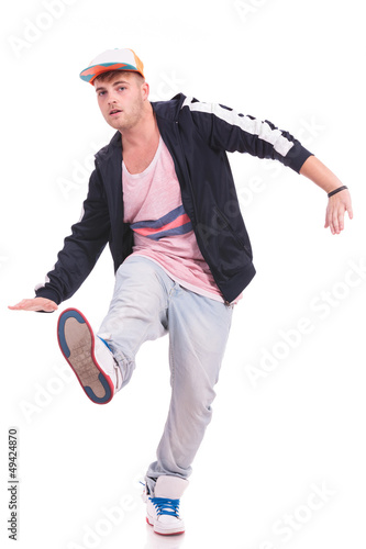 young male dancer balancing