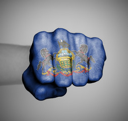 United states, fist with the flag of Pennsylvania