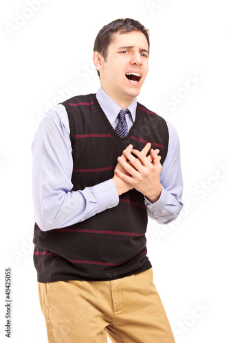 A young man having a heart attack