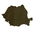 Dark silhouetted map of Romania