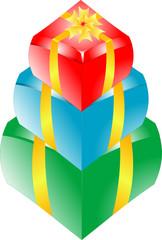 gift box set with yellow ribbon on white background