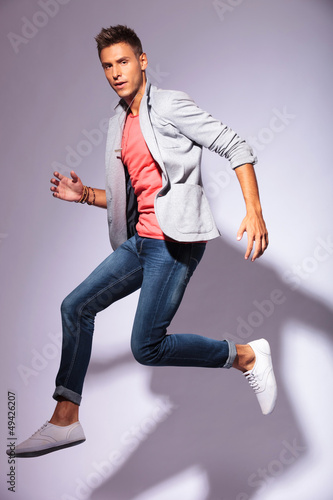 casual young man in the air