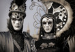black and silver couple on the Venetian Carnival