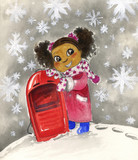Young black girl with red sledge watercolor
