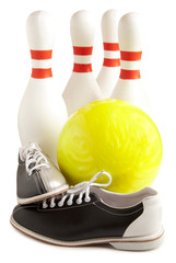 Ball, bowling shoes and bowling