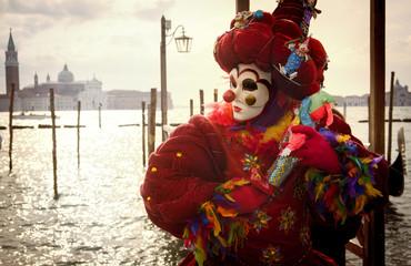 Venetian clown with puppet