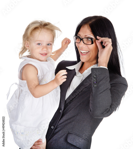 businesswoman with her child. Isolated