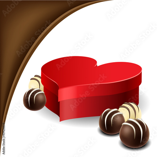 Heart box with chocolate praline for Valentine