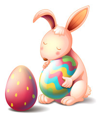 A rabbit hugging a colorful easter egg