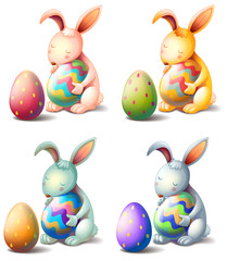 Four rabbits with easter eggs