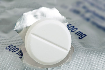 White pill in a pack very close up