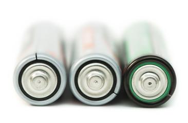 Three batteries close up