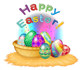 A happy easter greeting with a basket full of eggs