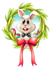 A border with a bunny and a big ribbon