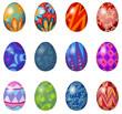 A dozen of easter eggs