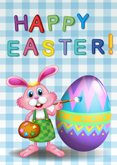 A happy easter card with a bunny and an egg