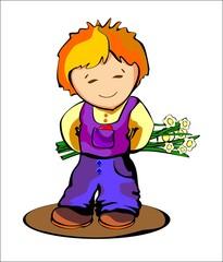 Мальчик дарит букет цветов