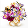 Beautiful realistic vector bouquet of flowers with eggs for east