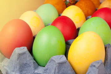 Bright background of colorful eggs