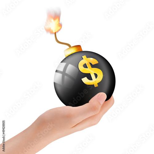 Schwarze Bombe mit Dollarzeichen in der Hand