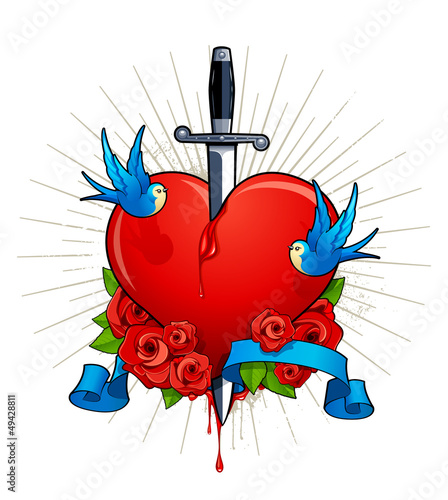 Vector illustration of heart with birds, roses and knife