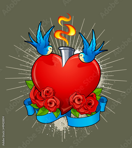 Vector illustration of heart with birds, roses and ribbon