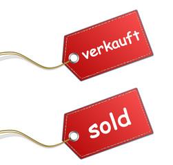Preisschilder verkauft sold