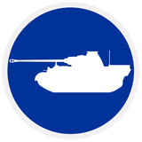 War tank, blue sign