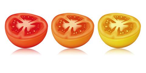 Trois tomates coupées