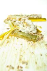 leek in walnut sauce por w sosie orzechowym isolated on white