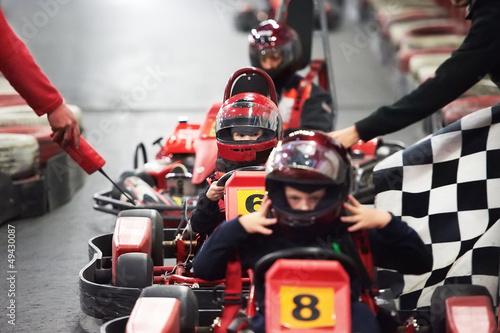 Leinwandbild Motiv Competition for children karting