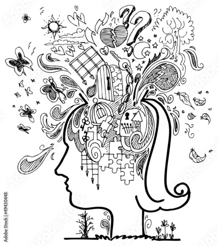 Woman head full of confused thoughts