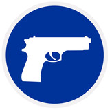 Pistol, blue sign