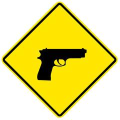 Pistol, yellow sign