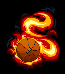 Burning basketball on black background