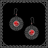 Jewelry filigree earrings isolated on black poster