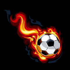 Burning soccer ball on black background