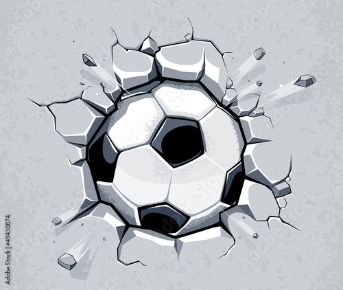 Soccer ball breaking the wall