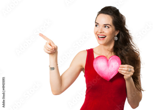 Happy woman holding a love heart