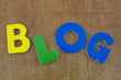 Blog written with colorful letters