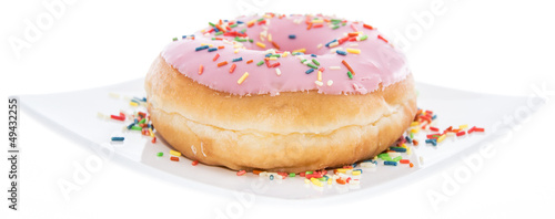 Pink Donut on a plate (white background)