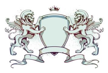 Vintage lion on shield