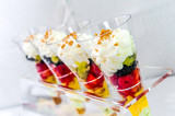 greedy dessert to the fruit with whipped cream