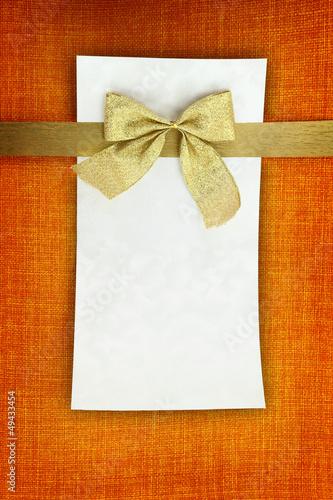 Empty card on orange background