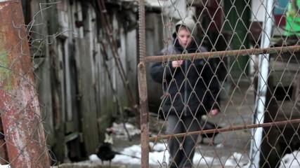 village boy in winter