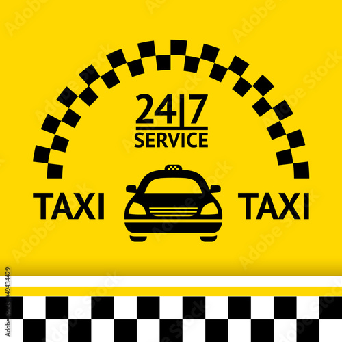 Taxi symbol, and car on the  background