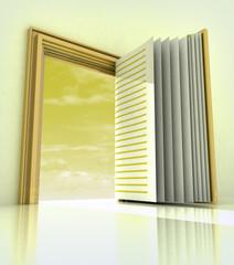 golden doorway frame open like book
