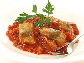 Fish in tomatoes, isolated