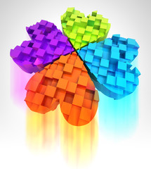 colored cloverleaf in three dimensional with blur