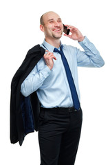 Happy businessman winning while talking on the phone
